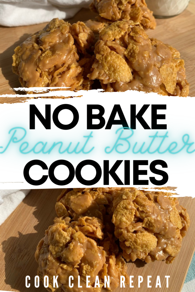 Pin showing the finished no bake peanut butter cookies with title across the middle.