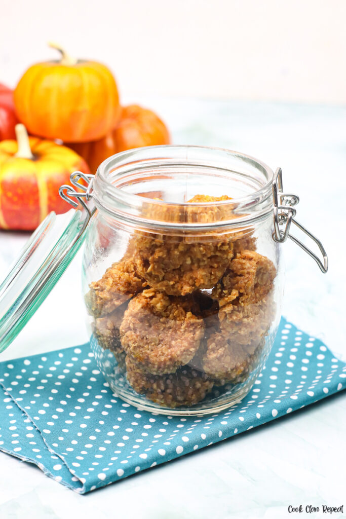 no bake pumpkin cookies in a jar ready to store or share.