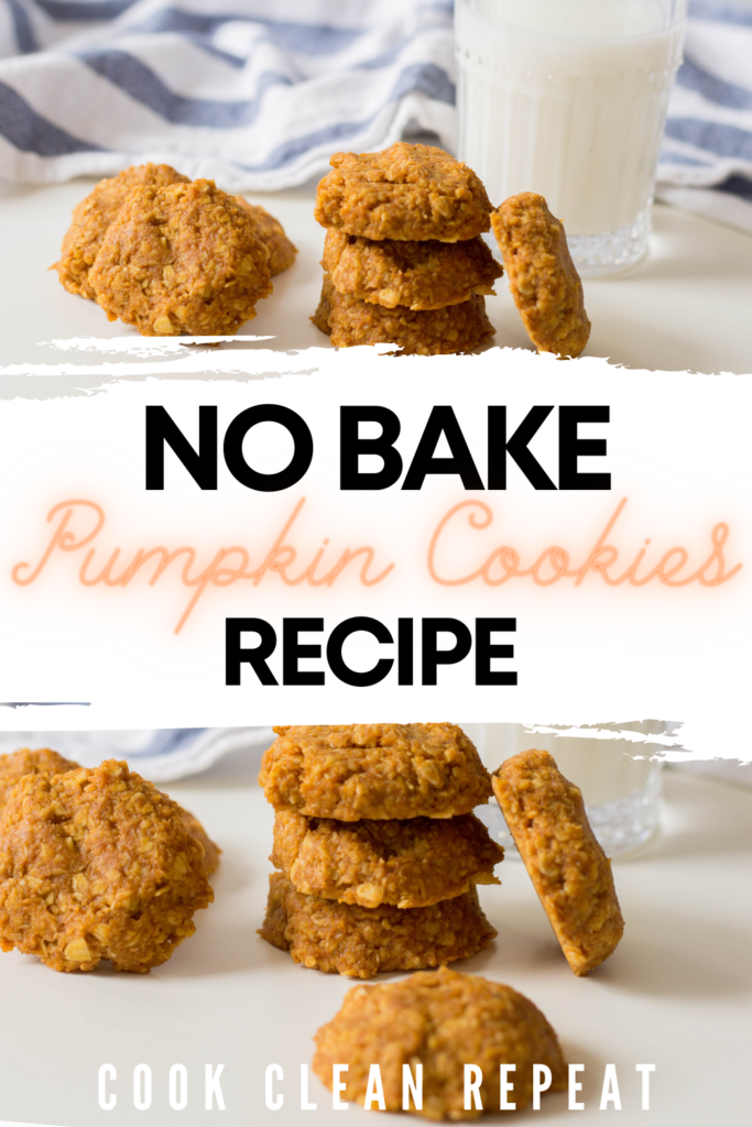 Pin showing the finished no bake pumpkin cookies ready to eat with title across the middle.