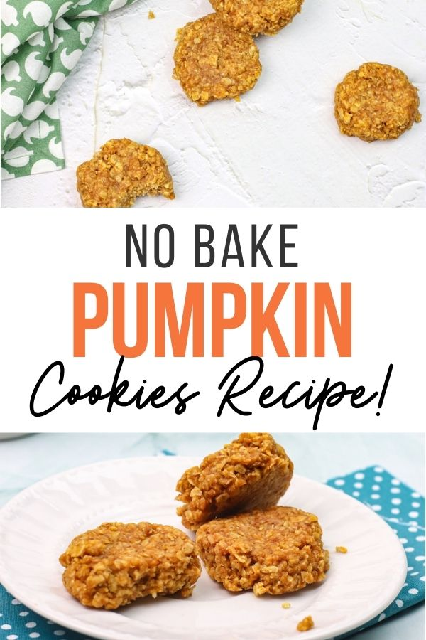 Pin showing the finished no bake pumpkin cookies ready to eat.