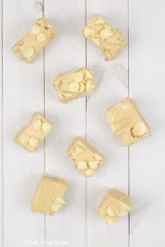 Another look at the finished white chocolate peanut butter fudge ready to eat.
