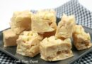 Featured image showing the finished white chocolate peanut butter fudge.