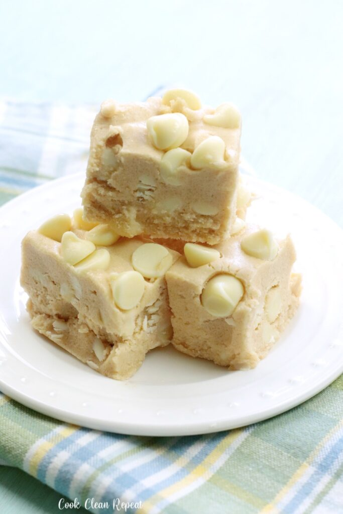 Here's a stack of the finished peanut butter fudge ready to be shared.