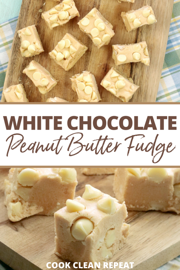 Pin showing the finished white chocolate peanut butter fudge ready to eat.