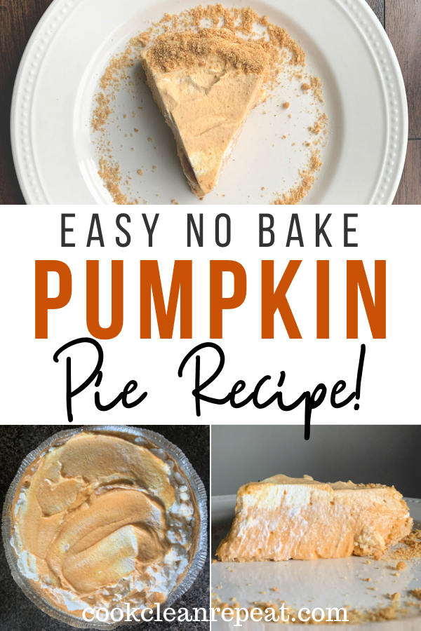 Pin showing the finished no bake pumpkin pie recipe with title across the middle.