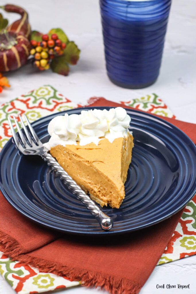 Image showing the finished no bake pumpkin pie recipe ready to eat.