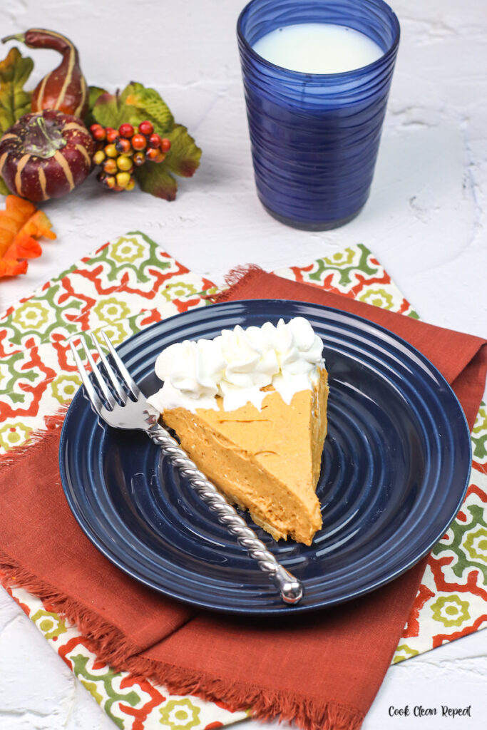 a slice of the pie on a plate ready to eat.
