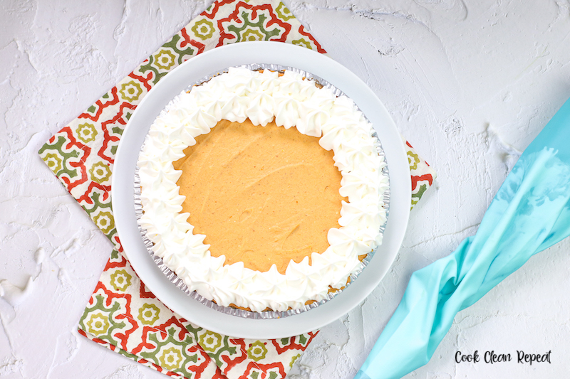 whipped cream added to the top before the pie is cut and served.