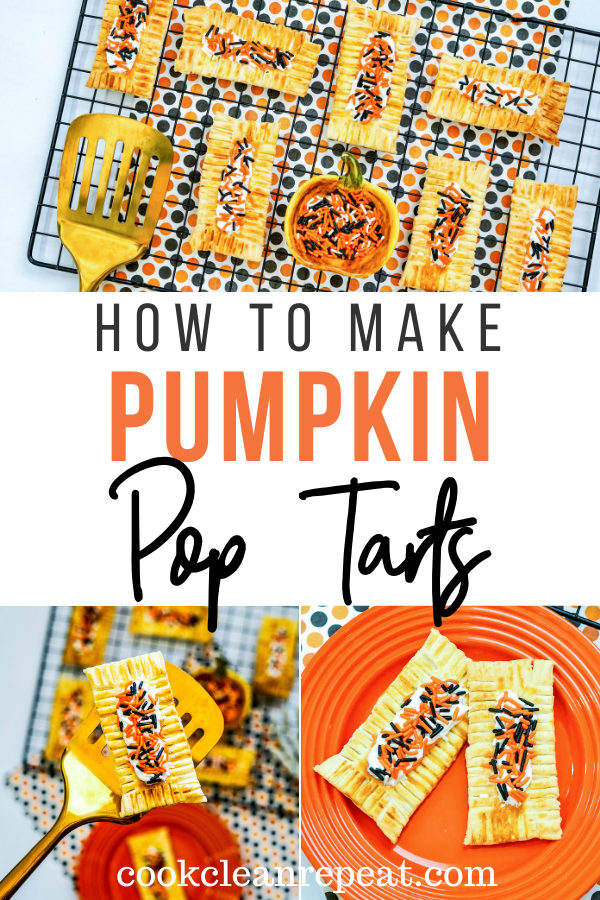 Pumpkin pop tarts recipe pin showing the finished pop tarts with title in the middle.