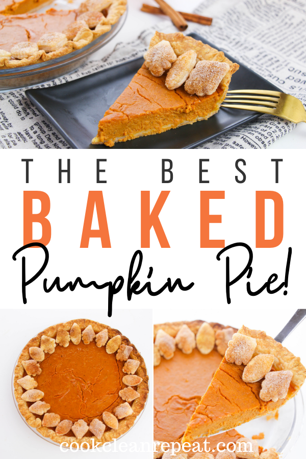 Pin showing the finished baked pumpkin pie recipe ready to be shared with title across the middle.