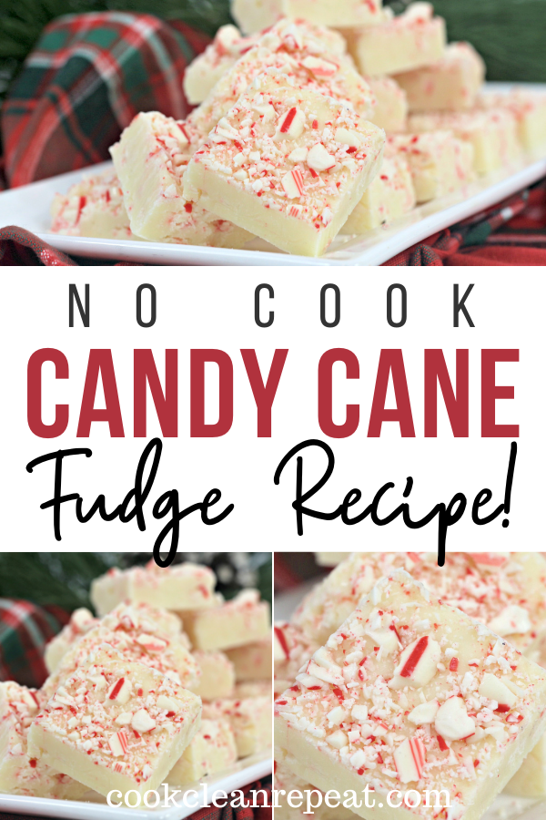 Pin showing the finished candy cane fudge ready to eat with title across the middle.