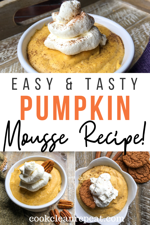 Pin showing the finished pumpkin mousse ready to eat.