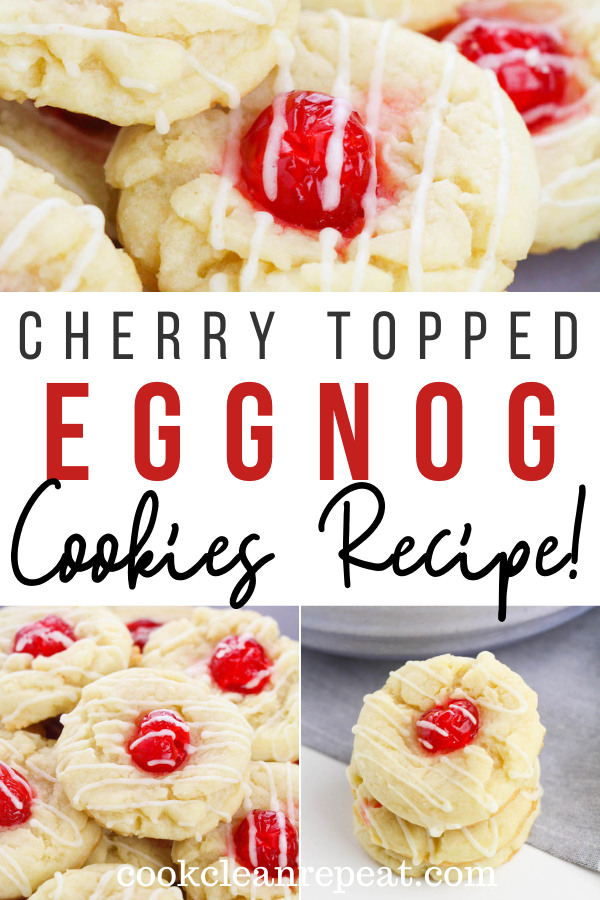 Pin showing the finished eggnog cookies ready to eat with title across the middle.