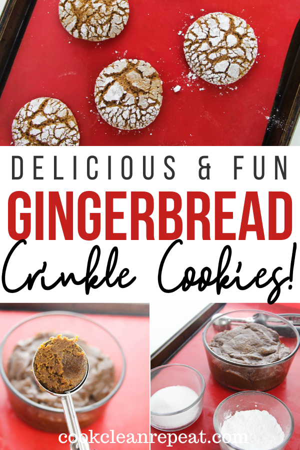 Pin showing the finished gingerbread crinkle cookies ready to eat with title across the middle.
