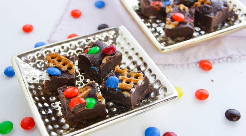Featured image showing the finished m&m fudge recipe ready to eat.