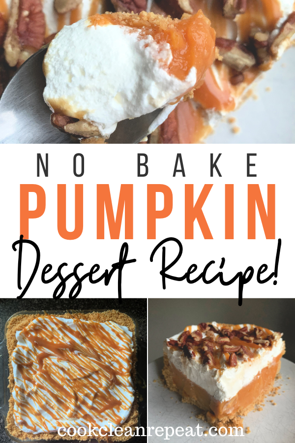 Pin showing the finished no bake pumpkin dessert ready to be shared with title across the middle!