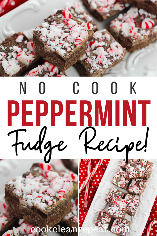 Pin showing the finished peppermint fudge recipe ready to eat with title across the middle.