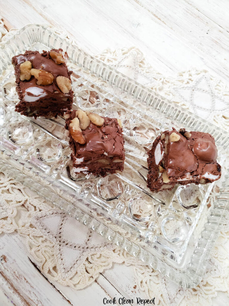 Here's some of the delicious finished rocky road fudge ready to eat.