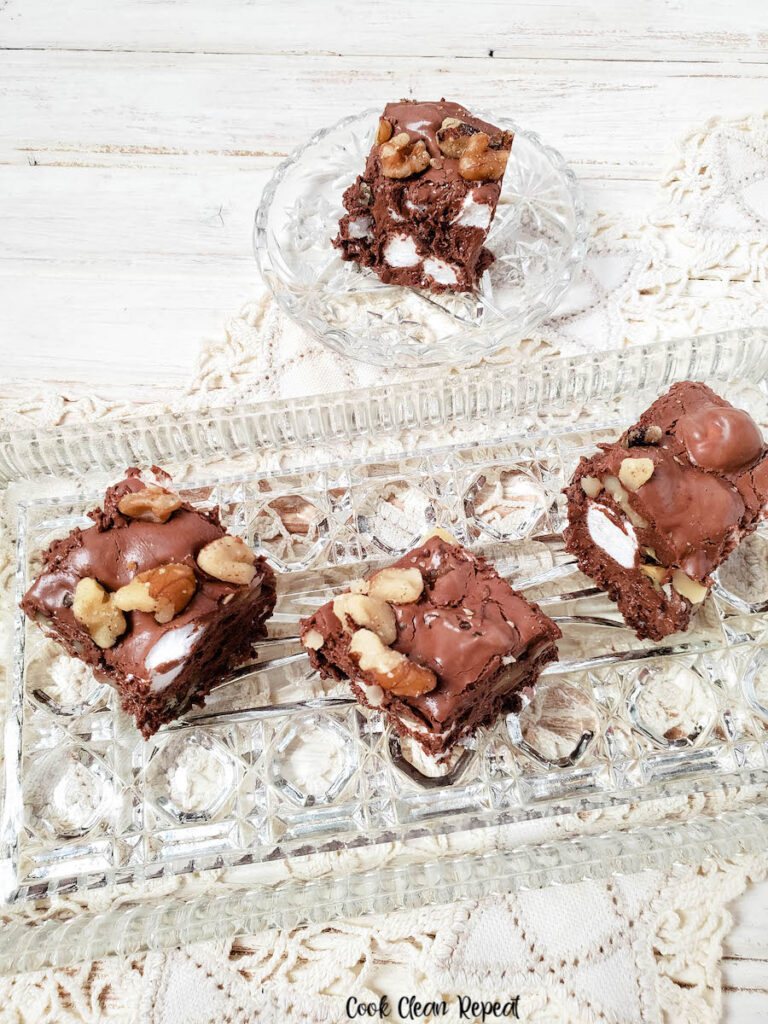 A view of some of the finished rocky road fudge on a platter ready to serve.