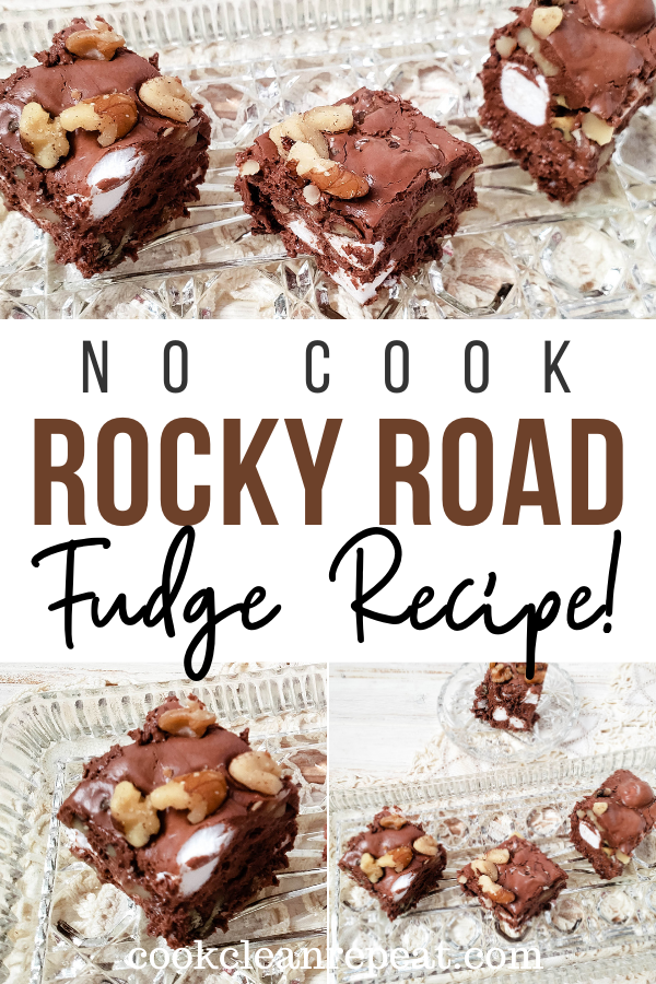 Pin showing the finished rocky road fudge ready to eat with title across the middle.