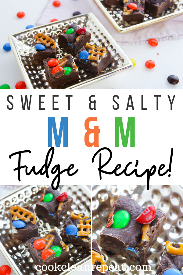 Pin showing the finished sweet and salty m&m fudge recipe ready to eat with title across the middle.