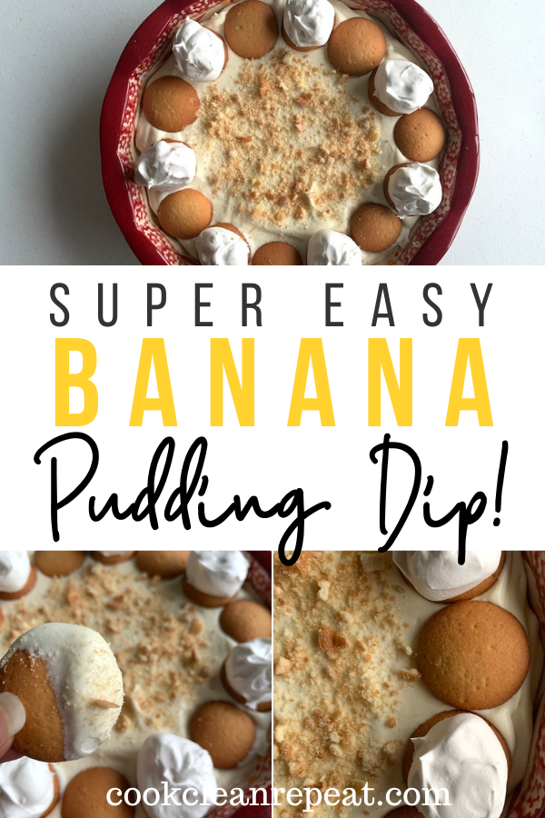 Pin showing the finished Nilla wafer dip banana pudding dip top and bottom title across the middle.