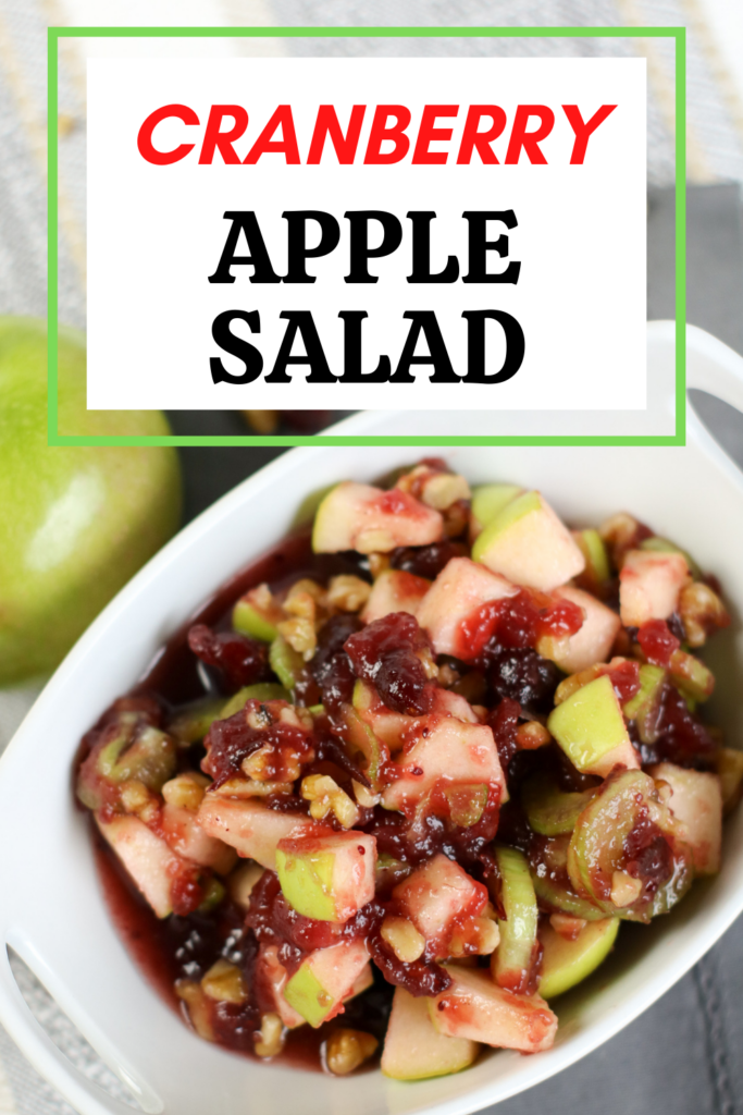 Pin showing the finished cranberry apple salad ready to eat with title at the top.