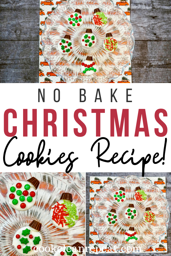 A pin showing the finished no bake Christmas cookies with title across the middle.