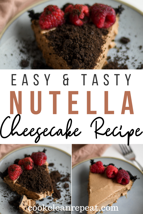 Pin showing the finished Nutella cheesecake with title across the middle.
