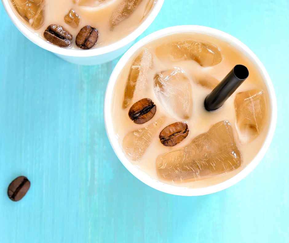 A top down view of some iced coffee drinks ready to be enjoyed.