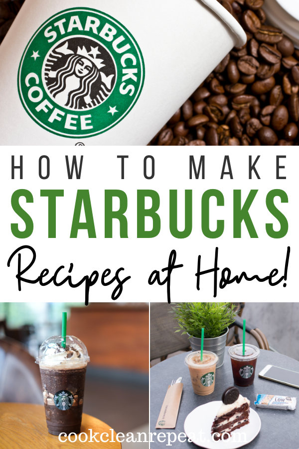 Pin showing the finished Starbucks copycat recipes top and bottom with title across the. middle.