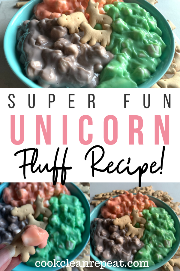 Pin showing the finished unicorn fluff ready to eat with title across the middle.