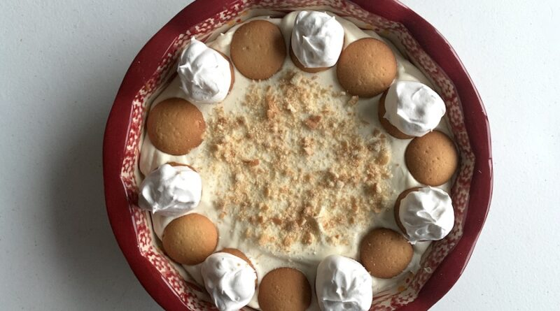 Featured image showing the full plate of the finished banana pudding dip ready to serve.