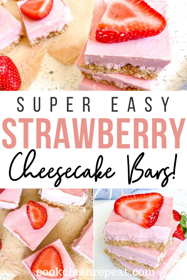 Pin showing the finished strawberry cheesecake bars with title across the middle.
