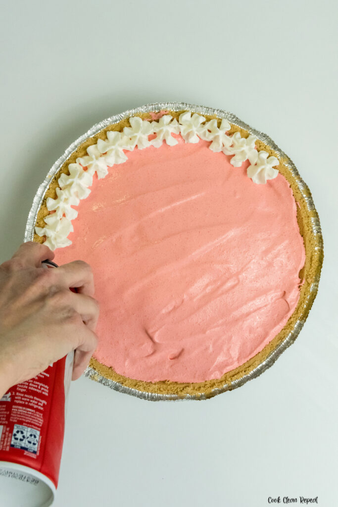 Pie being decorated.