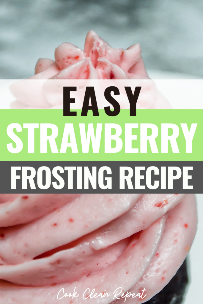 Easy strawberry frosting pin with title across the middle.