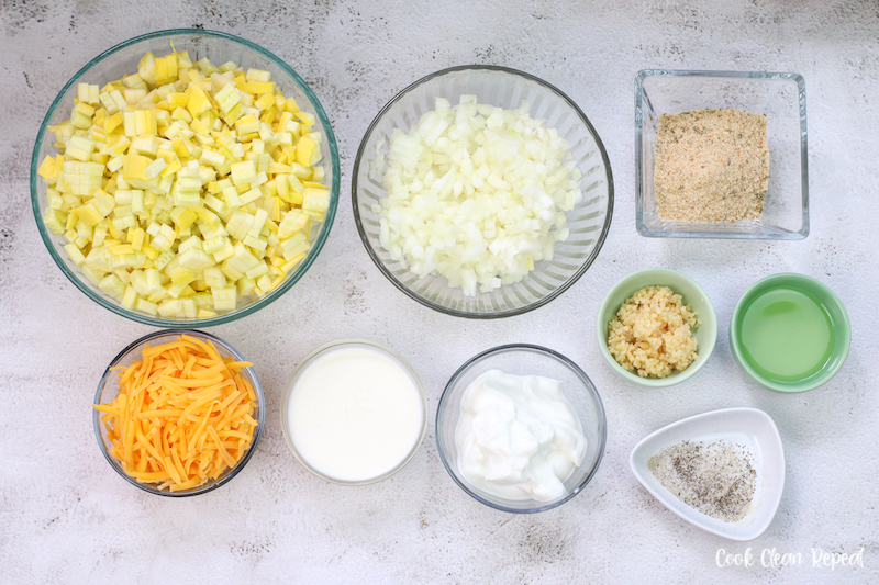 ingredients needed to make squash and zucchini casserole ready to eat.