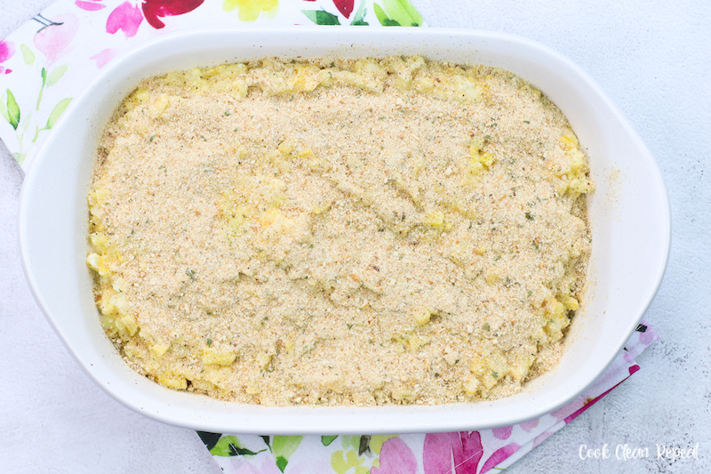 bread crumbs added to the top before baking.