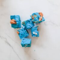Featured image showing the finished Cookie Monster fudge ready to eat.