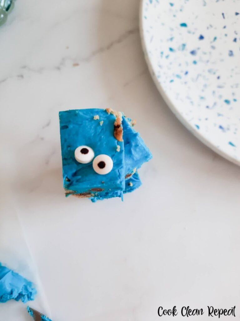 A close up look at the finished Cookie Monster fudge.