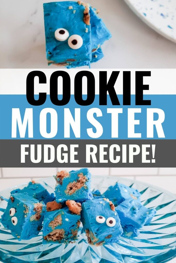 Pin showing the finished Cookie Monster fudge with title across the middle.