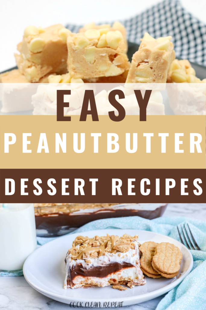 Pin showing the finished peanut butter desserts with title in the middle.