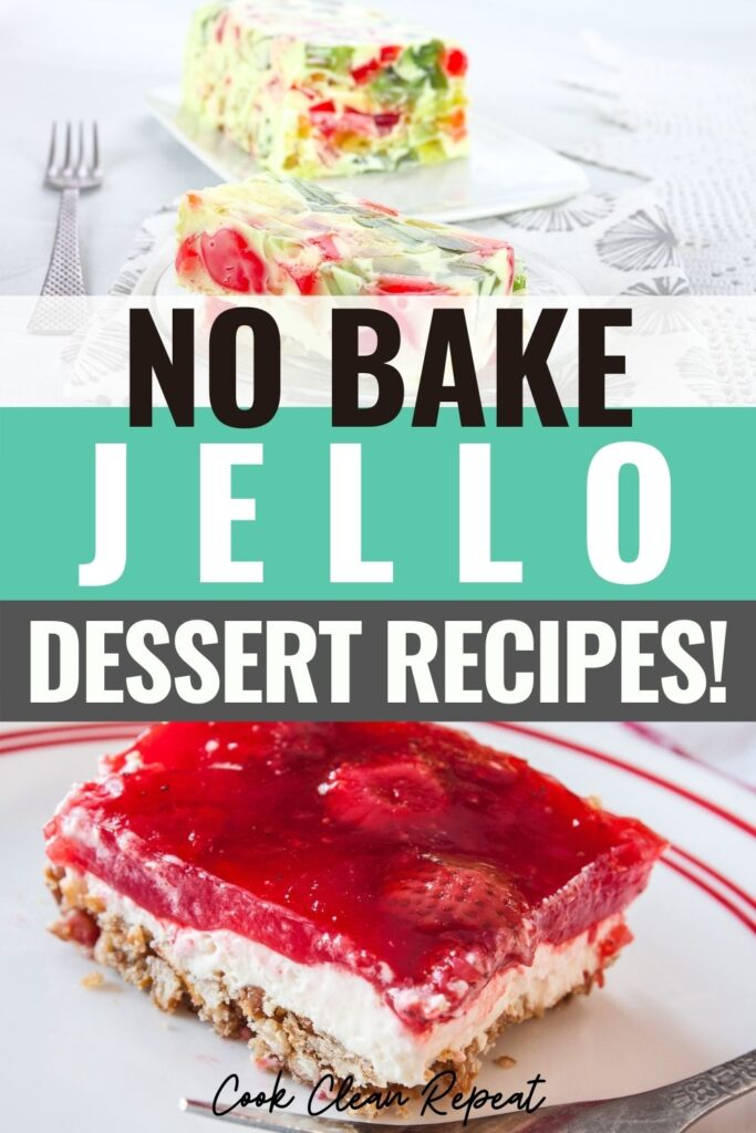 Pin showing jello dessert recipes with title across the middle.