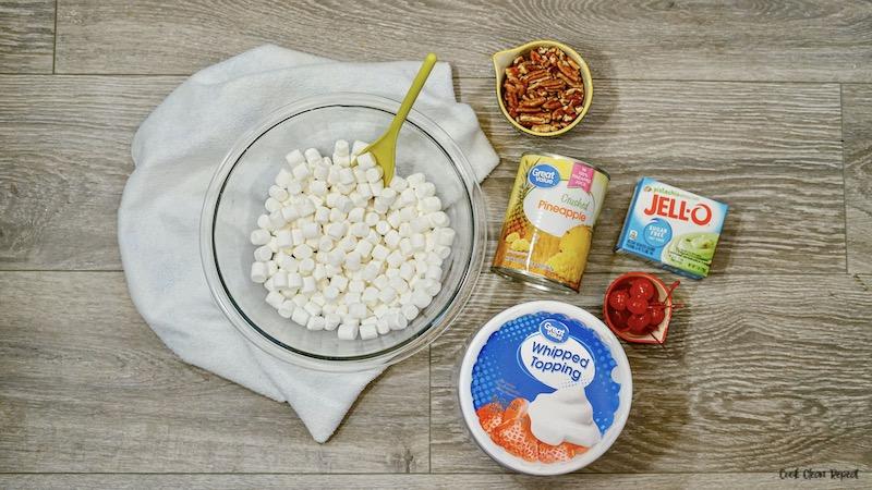 Ingredients needed for pistachio Watergate salad.