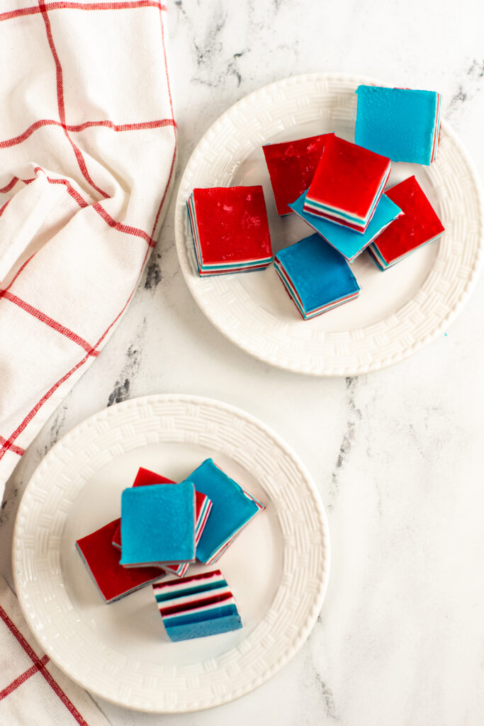 top down look at the finished red white and blue jello squares ready to serve.
