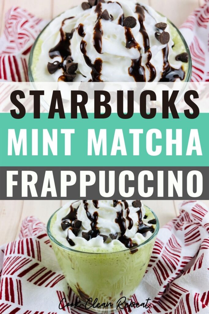 Pin showing the finished Starbucks mint matcha frappuccino ready to drink.