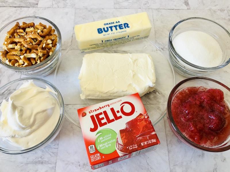 ingredients needed to make strawberry pretzel dessert.