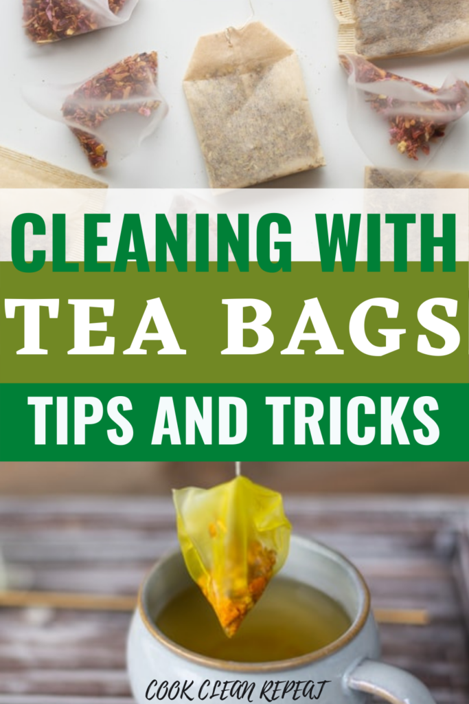 Pin showing the tea bags and title of cleaning with tea bags