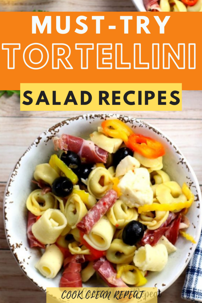 tortellini salad recipes pin showing the finished salad with title at the top.