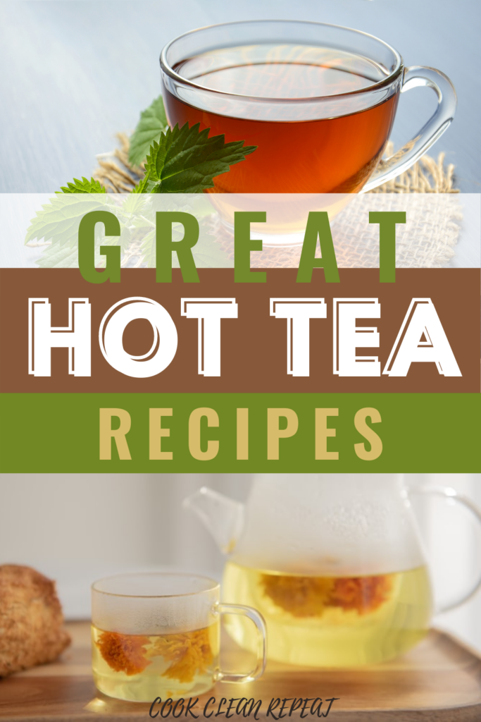 Pin showing the hot tea recipes with title across the middle.